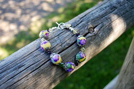 Custom Made Casual Bracelet With Handmade Polymer Clay Beads And Swarovski Crystals