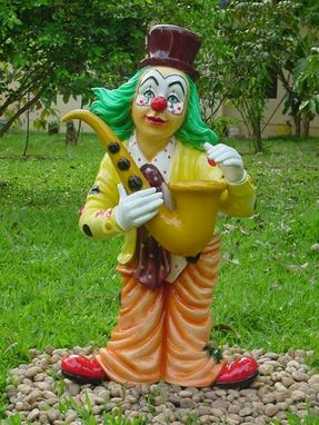 Custom Made Clown With Saxaphone Statue
