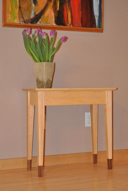 Custom Made End Table With Contrasting Feet And Inlay