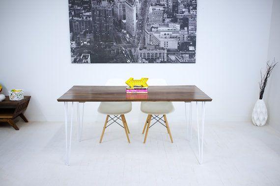 Hand Made Mid Century Modern Black Walnut Dining Table