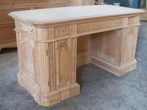 Custom Made Solid Mahogany Presidential Resolute Executive Office Desk