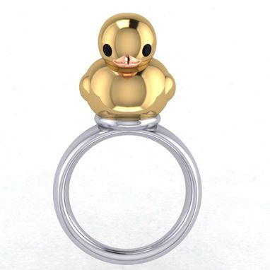 Custom Made What The Duck?!? Sterling Silver Duck Ring, Gold Duck Ring, Rubber Ducky Ring, Duckling Ring,