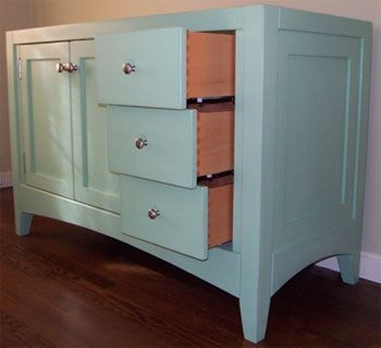 Custom Made Shaker Style Vanity With Heavy Legs And Arched Base Rails