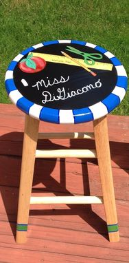Custom Made Painted Teacher Themed Stool//Custom Painted Chair