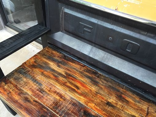 Custom Made Black And Orange Ford Tailgate Bench