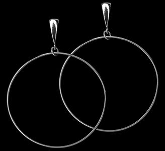 Custom Made Panache:  Sterling Silver Large Hoop Dangle Earrings