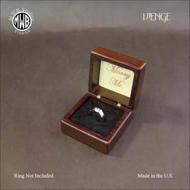 Custom Made Inlaid Engagement Ring Box Of Wenge And Maple.  Free Engraving And Shipping. Rb26