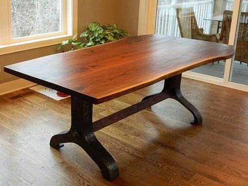 Custom Made Black Walnut Slab Table With Hand Hammered Industrial Base