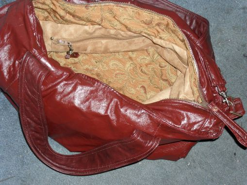 Custom Made Breena Burgandy Red Leather Jacket And Laptop Bag