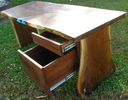 Custom Made Walnut Desk With File Drawer