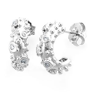 Custom Made Diamond Nugget Semi Hoop Earrings In 14k White Gold, Diamond Earrings, Ladies Earrings
