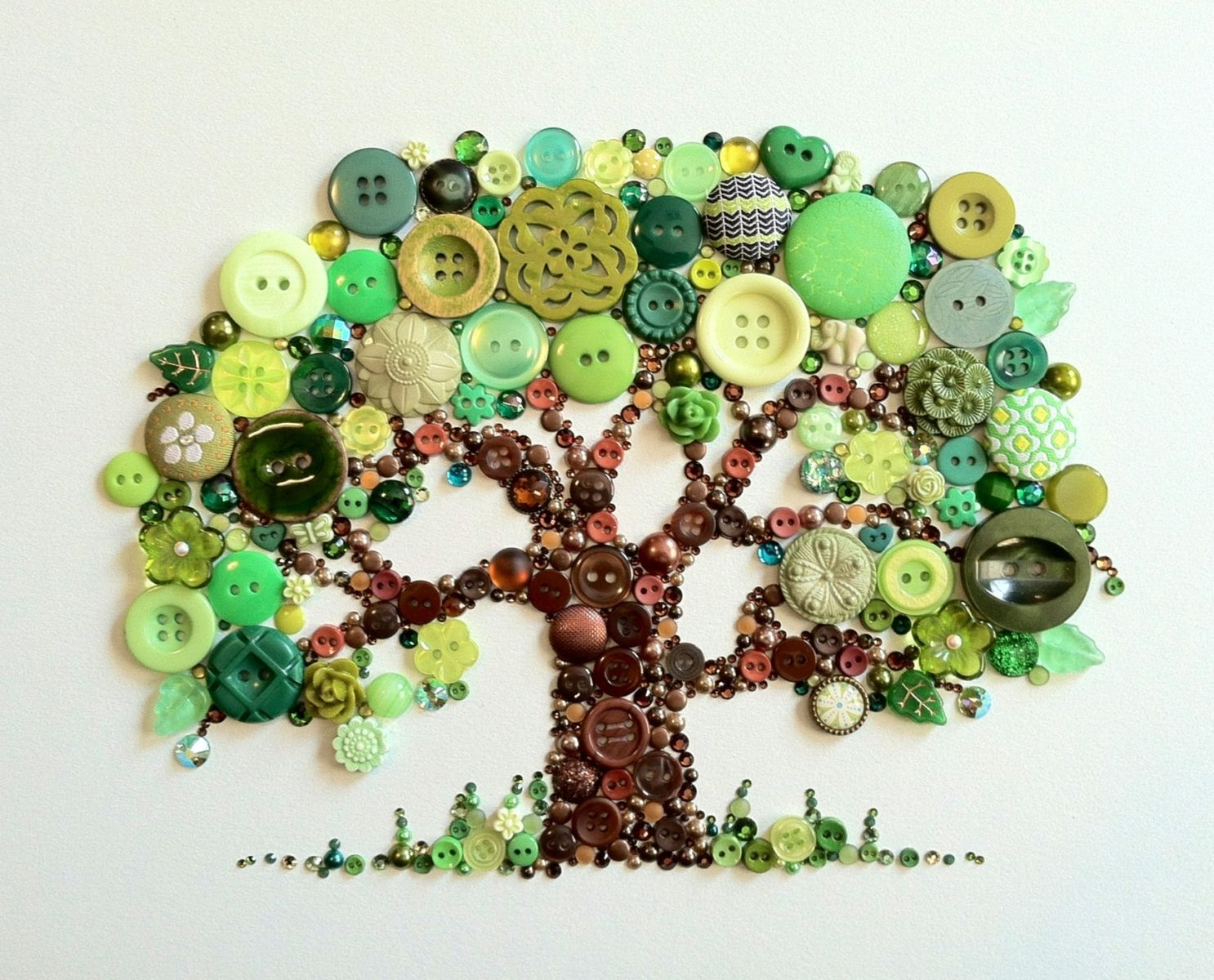 Hand Crafted Tree Of Life Button Art With Swarovski ...