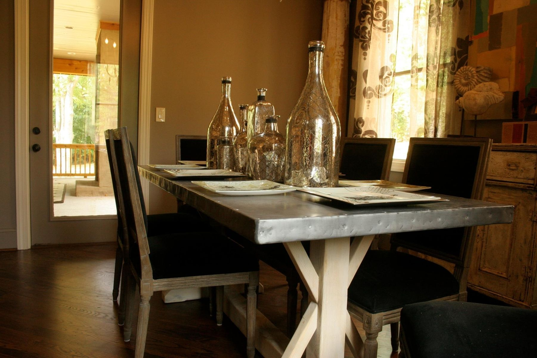 Custom Made Zinc Top Trestle Table
