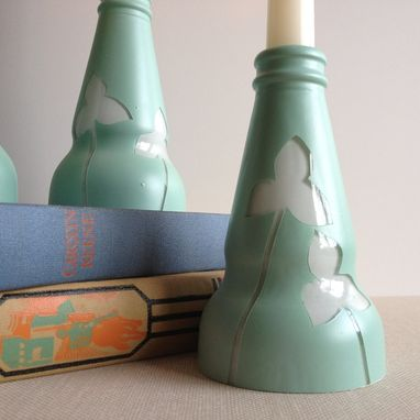 Custom Made Candle Stick Holder, Light Blue And White, Clovers