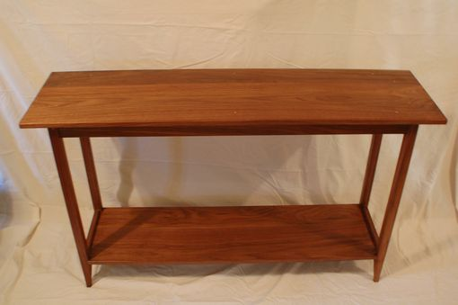 Custom Made Shaker Walnut Sofa Table With Shelf