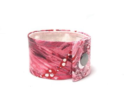 Custom Made Wide Pink Hand Painted Cuff -  Made With Organic Hemp Fiber And Paint - Painted Jewelry