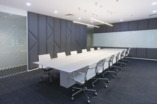 Custom Made Custom Solid Surface, White Laquar Conference Table
