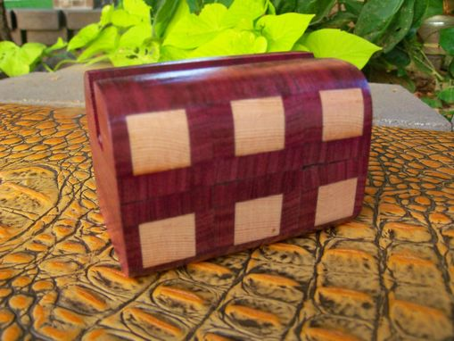 Custom Made Cherry And Purpleheart Card Box With Geometric Inlay