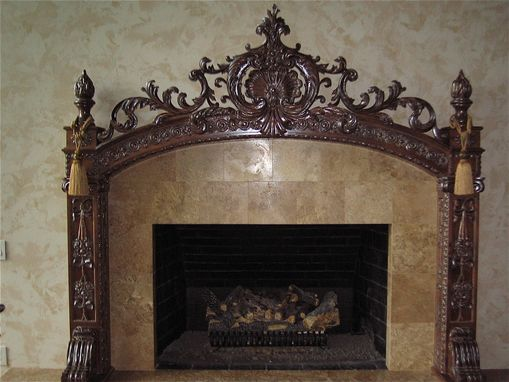 Hand Made Carved Fireplace Mantel By Hercules Custom