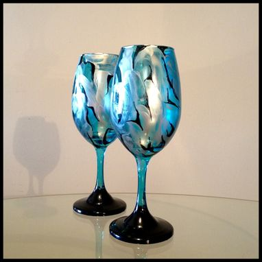 Custom Made Blue, Silver, And Black Abstract Design. White Wine Glasses.