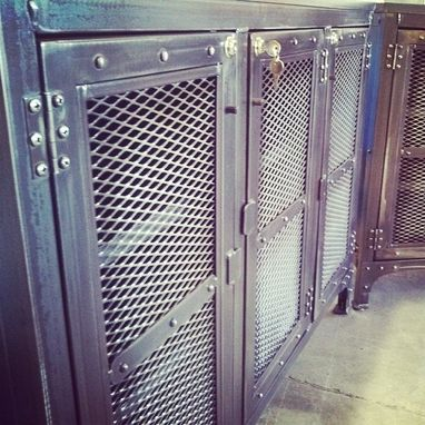 Custom Made Custom Wine Cellar Cabinets, Reclaimed Wood And Steel Cabinets, Hammered Copper Sink, Mini Fridge