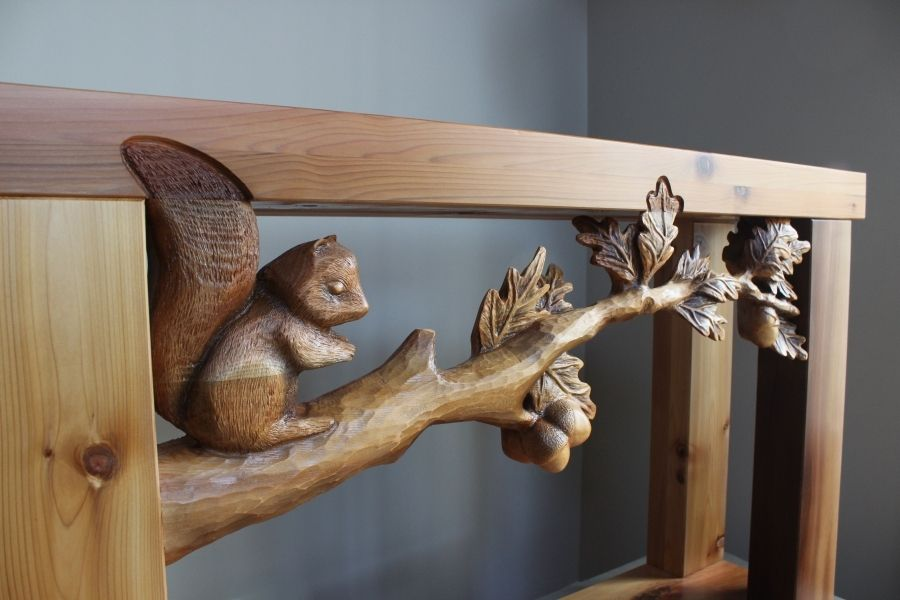 Handmade Hand Carved Furniture, Custom Sofa Tables, Wood Carving By Lazy  River Studio by Lazy River Studio  CustomMade