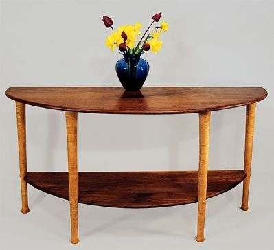 Custom Made Walnut And Curly Maple Hall Table