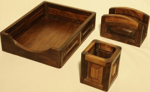 Custom Made Walnut Desk Top Accessory Set