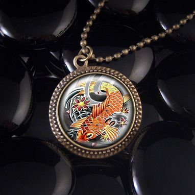 Custom Made Asian Koi Fish Antique Bronze Pendant Necklace 327-Brn