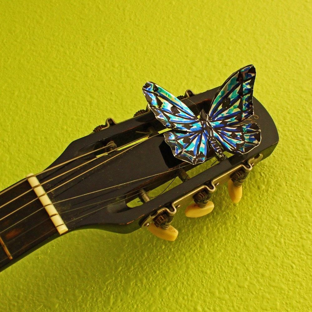 Handmade Playable Guitar Wall Art With Aluminum Butterfly Accents by ...