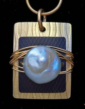 Custom Made Anodized Aluminum And 14 Kt. Gold Fill Pearl Pendant