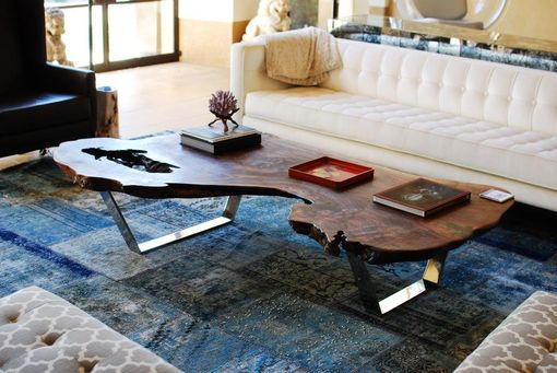 Custom Made Mirror Polished Stainless Steel And Claro Walnut Coffee Table