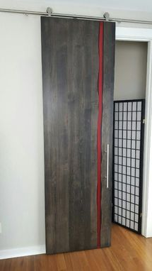 Hand Made Modern Barn Door With Resin Inlay By Twochair