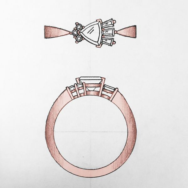 Concept sketch for a modern ring with geometric contrasts in a cluster of round, trillion and baguette cut diamonds.