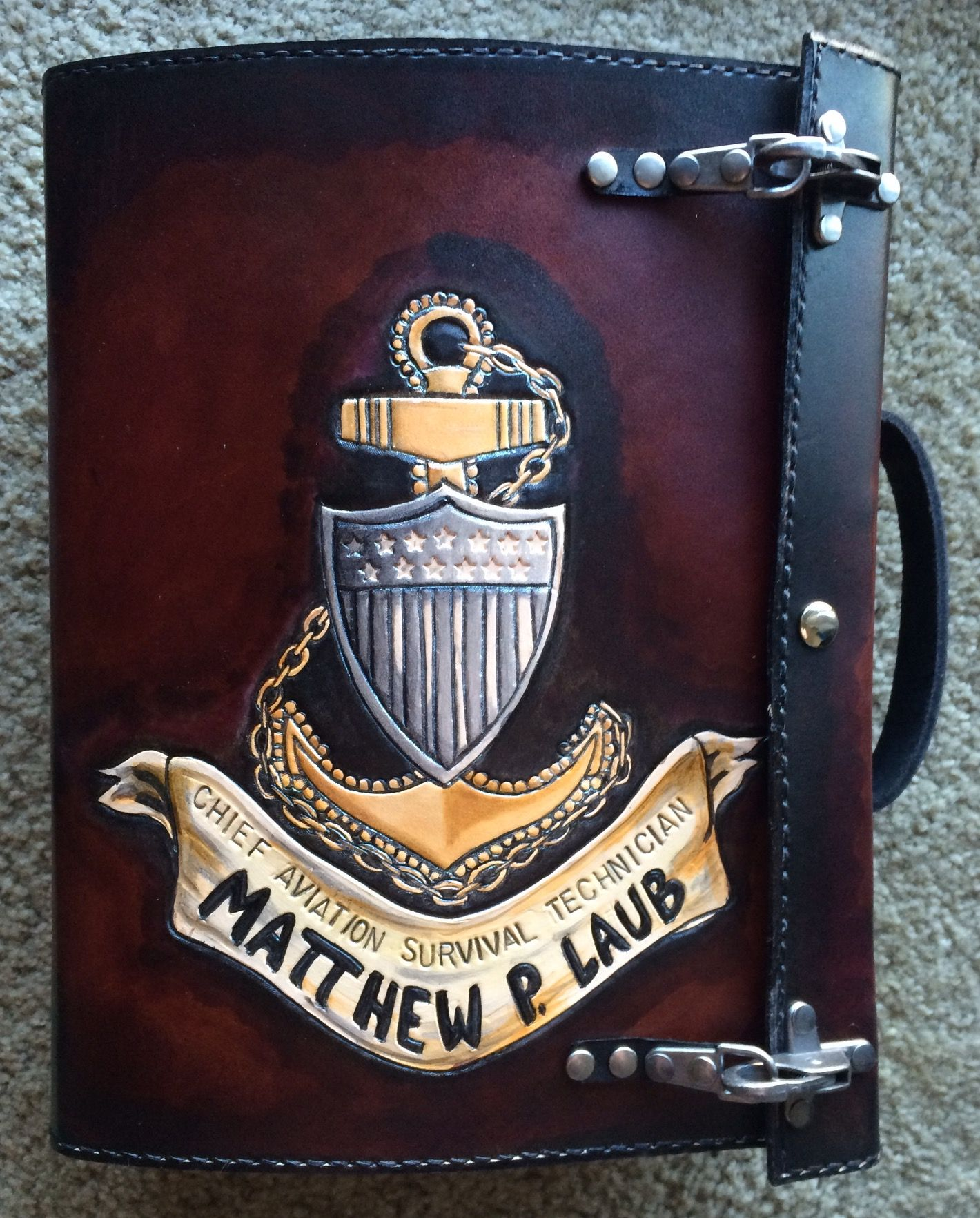 Buy A Hand Made Cpo Charge Book Rescue Diver Coast Guard