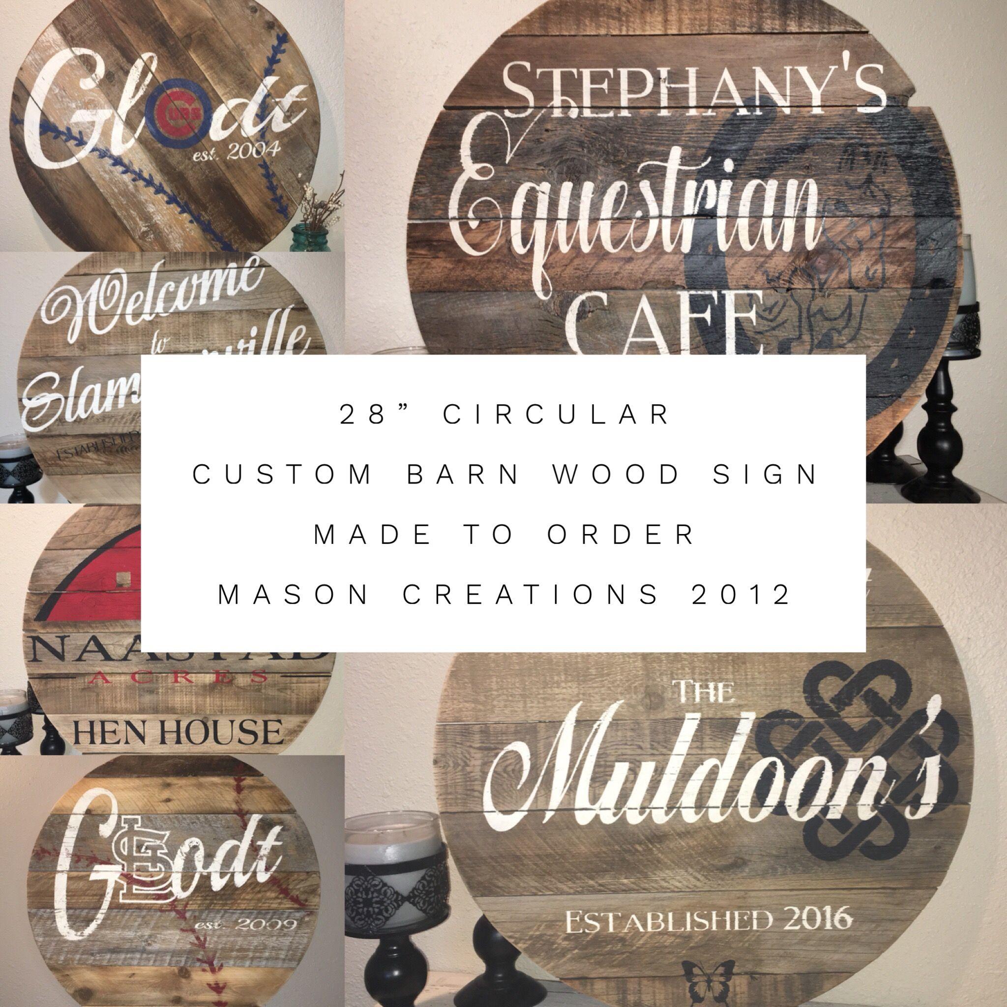 custom made 28 circular custom barn wood sign baseball barn horse