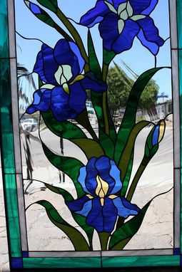 Custom Made Lovely Iris Stained Glass Window