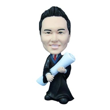 Custom Made Personalized Bobblehead In Graduation Toga - Great Graduation Gift Or Cake Topper
