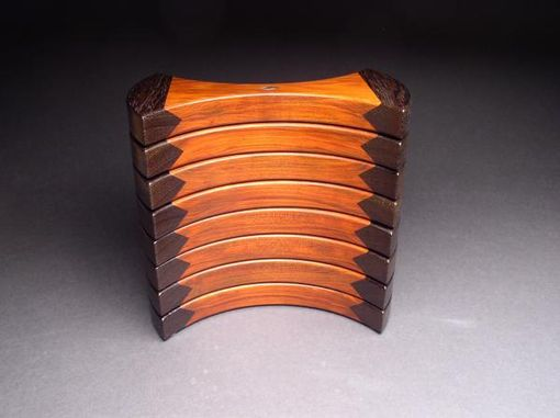 Custom Made Helical Jewelry Box, Redheart And Wenge, Abalone Inlay