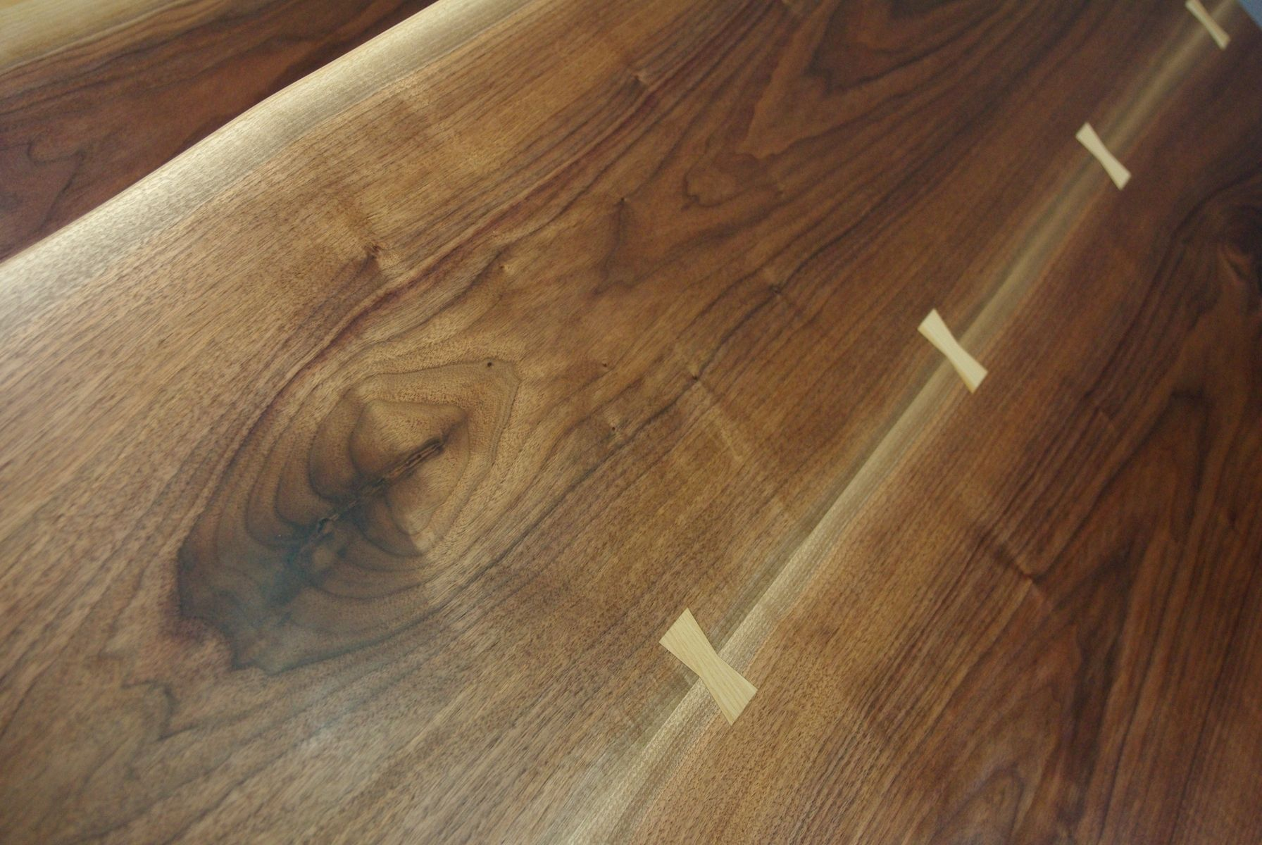 Custom Made Black Walnut Live Edge Slab Dining Table And