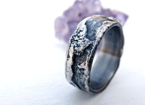 Buy A Hand Made Molten Silver Ring Richly Structured