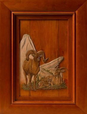 Custom Made Low Relief Carving Of A Mountain Sheep Family.