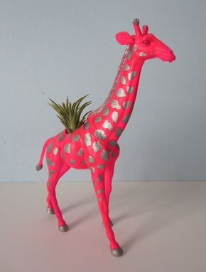 Custom Made Upcycled Toy Planter - Neon Pink Giraffe With Silver Spots And Air Plant