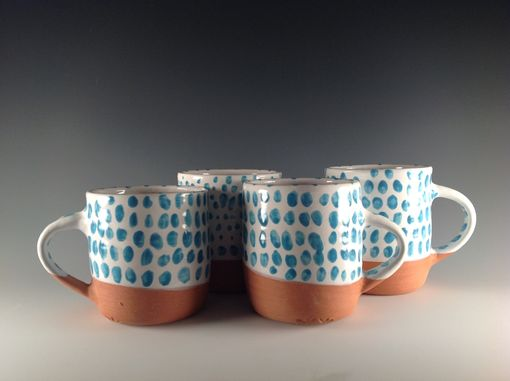 Custom Made Reserved For Ben - Two Speckled Turquoise Mugs