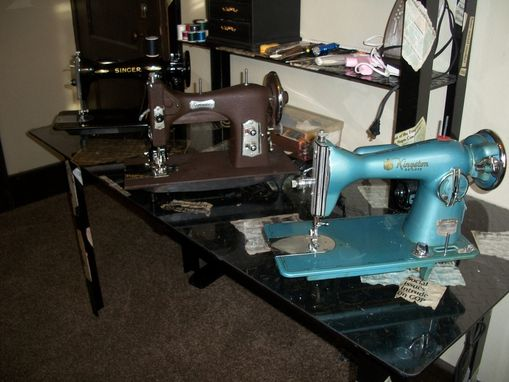 Custom Made Custom Built Sewing Station With Vintage Machines