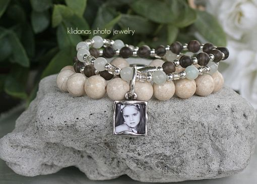 Custom Made Photo Stacking Bracelet With Riverstone Beads And Jade Stones