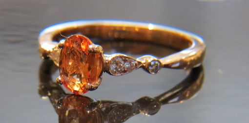 Custom Made Genuine Padparadscha Oval Shaped Sapphire 14kt Rose Gold Diamond Ring