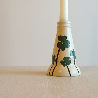 Custom Made Candle Stick Holder, Green Clover, Antique White, Upcycled Glass