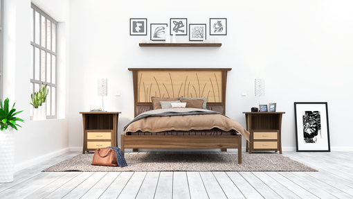 Custom Made Walnut Bed Frame Queen, King Size Bed, Walnut Headboard, Platform Bed, Curly Maple,