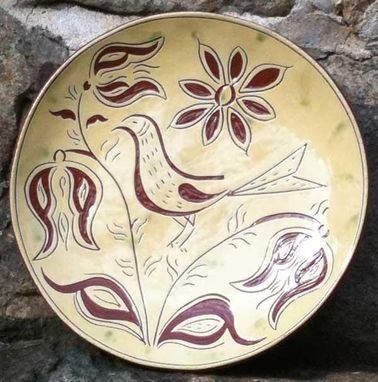 Custom Made Ceramic Plate With Bird And Flowers Surrounding